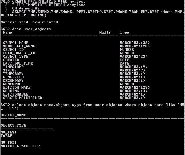 materialized views in oracle