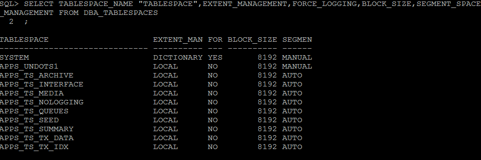 How to check tablespace in Oracle