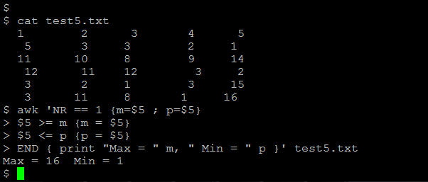 awk command to Find maximum and minimum values present in a column