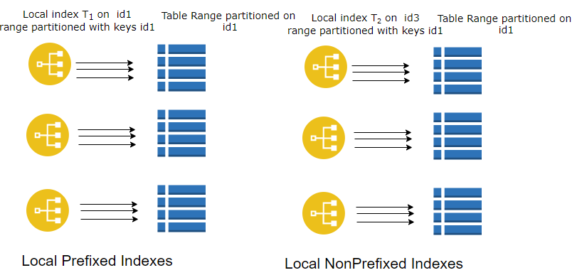 Prefixed and Non prefixed local partition index