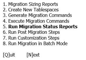 Oracle Applications tablespace model (Run Migration status reports)